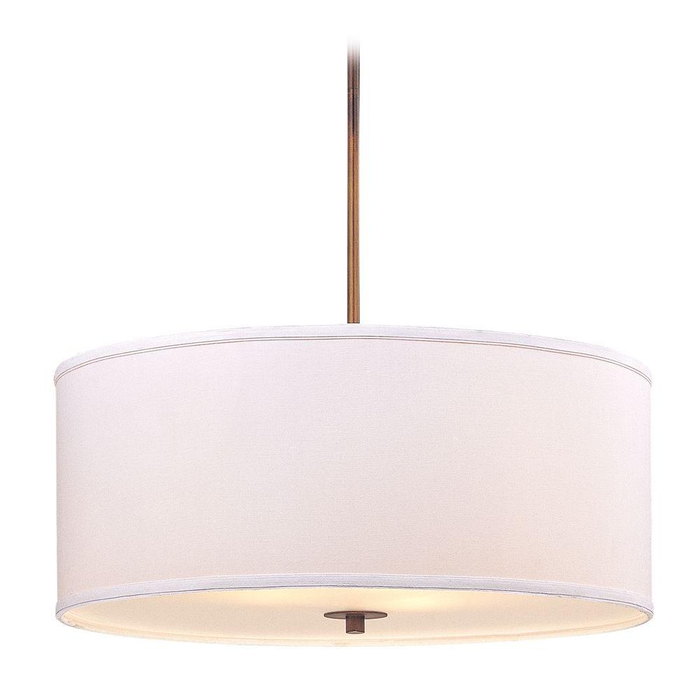 Large bronze drum pendant light with white shade aloadofball Choice Image