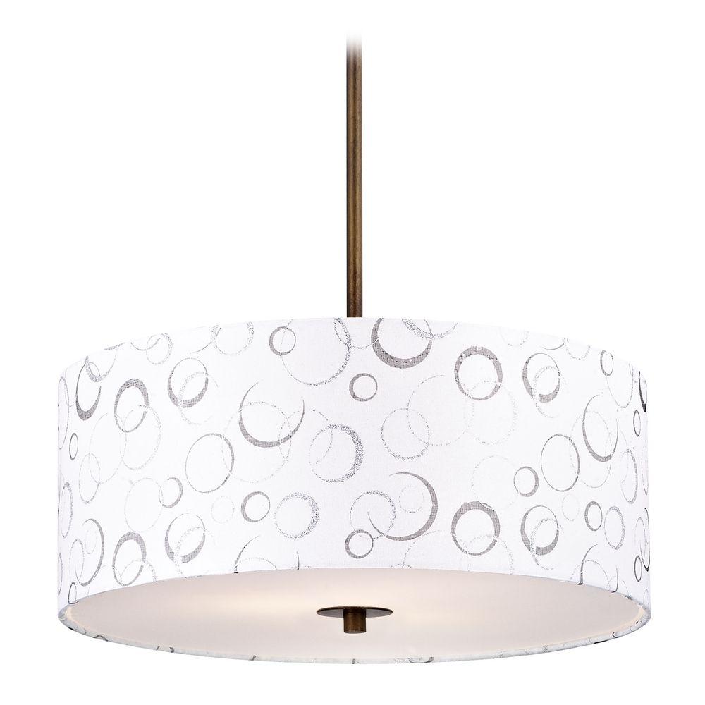 Bronze drum pendant light with white patterned shade aloadofball Choice Image