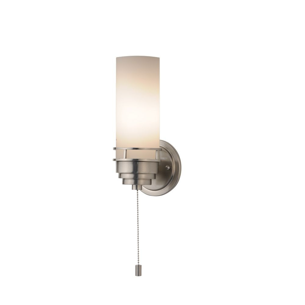 Markham satin nickel sconce with pull chain switch