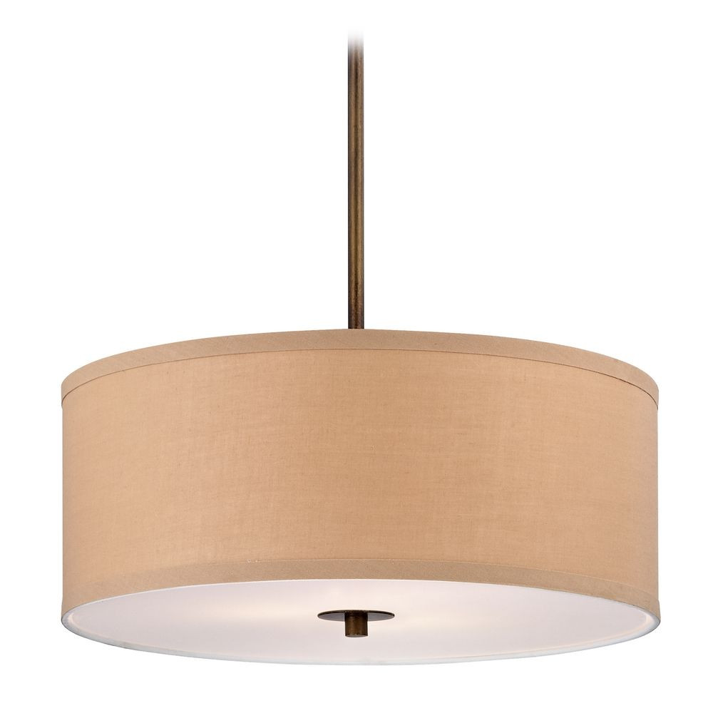 Milo Bronze Drum Pendant Light with Shade