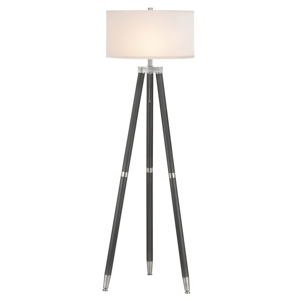 Ebony & Satin Nickel Hudson Floor Lamp