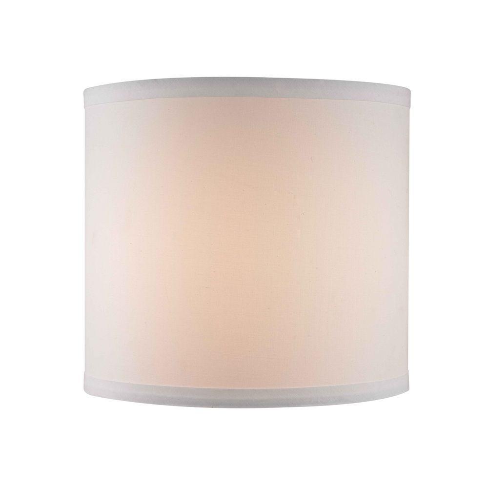 10x10x19 White Linen Round Shade
