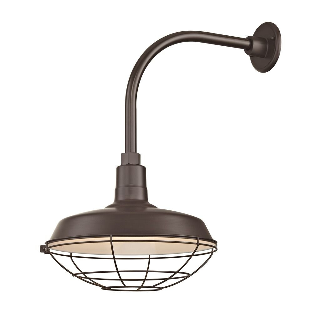 "Barn Light Outdoor Wall Light Bronze with Gooseneck Arm 14"" Cage Shade"