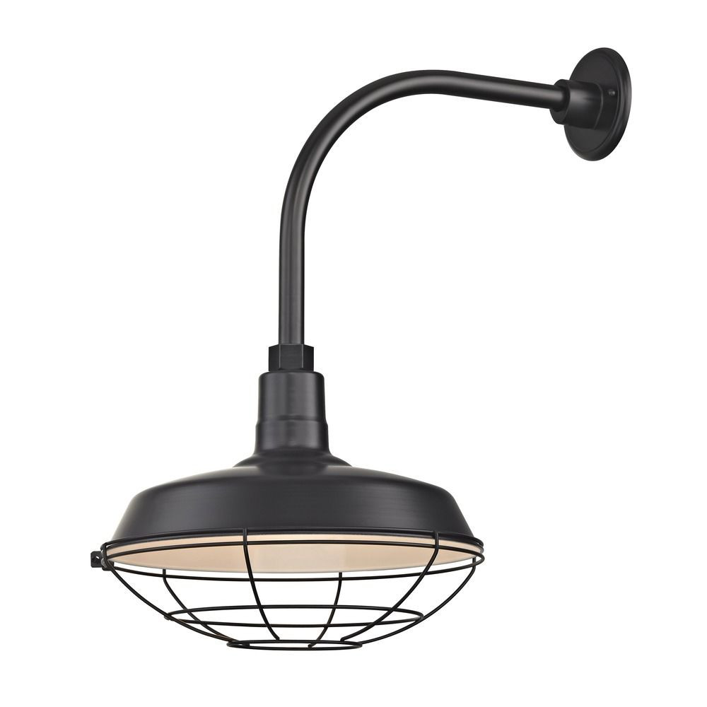 "Barn Light Outdoor Wall Light Black with Gooseneck Arm 14"" Cage Shade"
