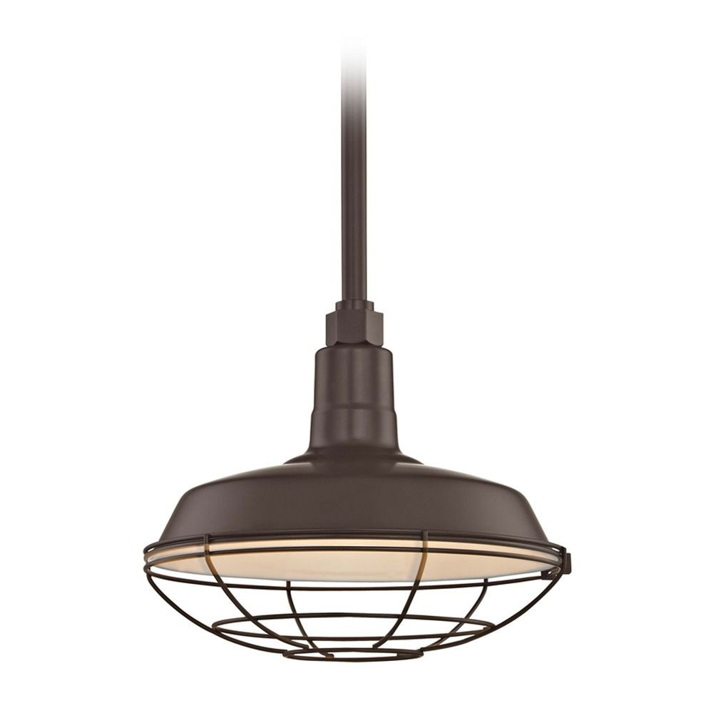 Recesso Bronze Barn Pendant Light with 12-Inch RLM Cage Shade