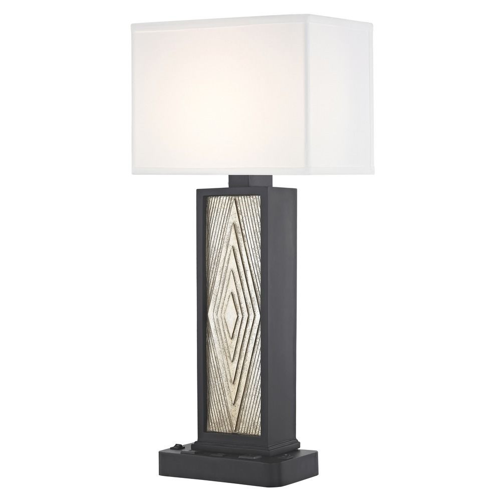 DIAMOND CUT LEDGE LAMP Dual Switching with Black Base