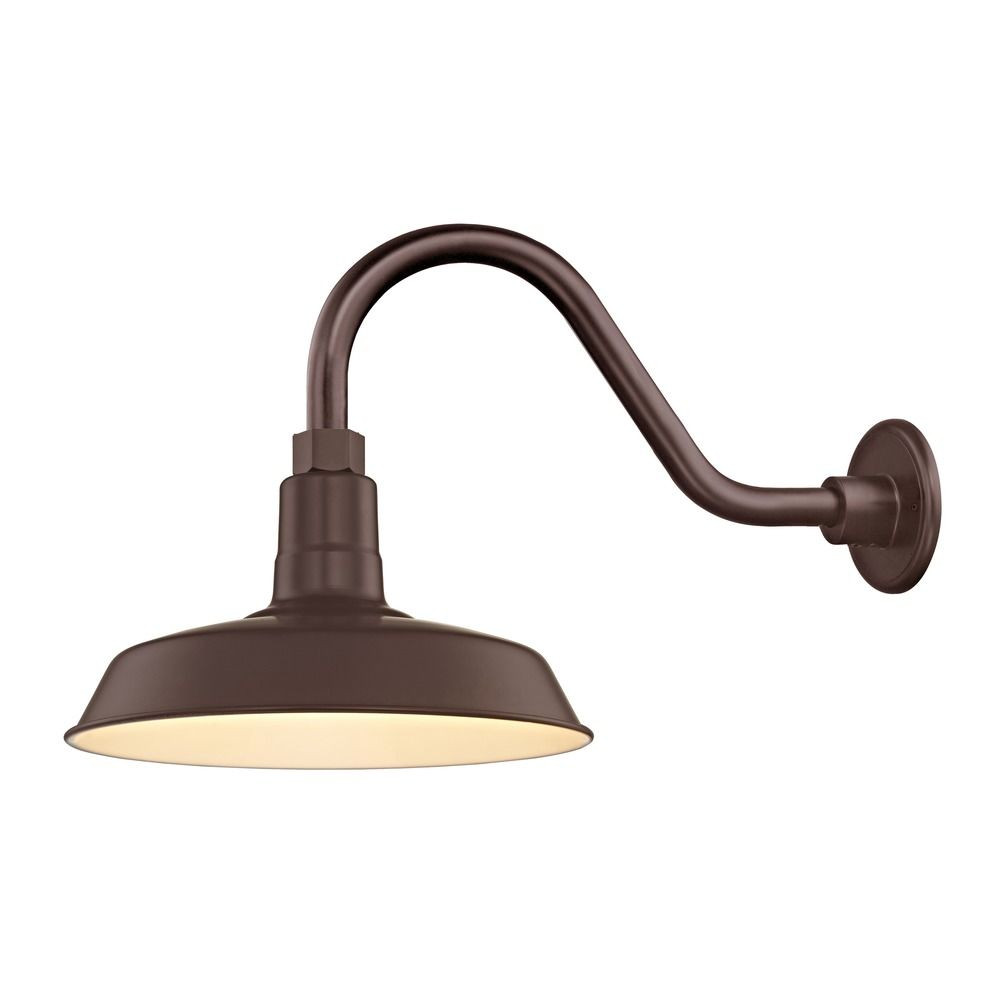 "Barn Light Outdoor Wall Light Bronze with Gooseneck Arm 12"" Shade"
