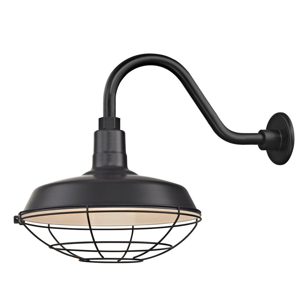 Barn Light Outdoor Wall Light Black with Gooseneck Arm 14 ...
