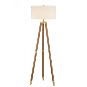 Teak & Sandy Brass Hudson Floor Lamp