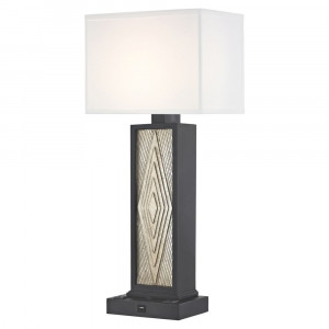 DIAMOND CUT LEDGE LAMP Single Switch with Black Base