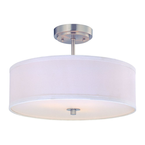 Milo Satin Nickel Drum Semi Flush Light with Shade