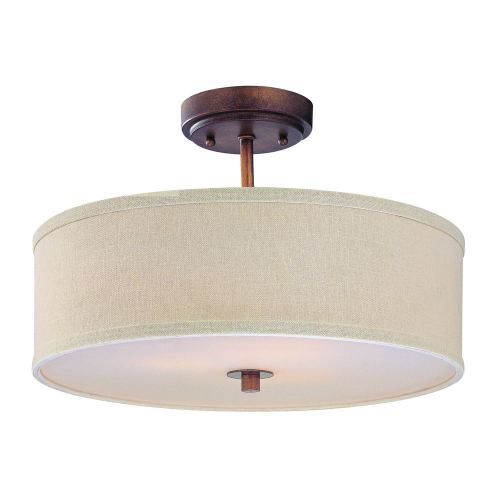 Milo Bronze Semi Flush Drum Light with Shade