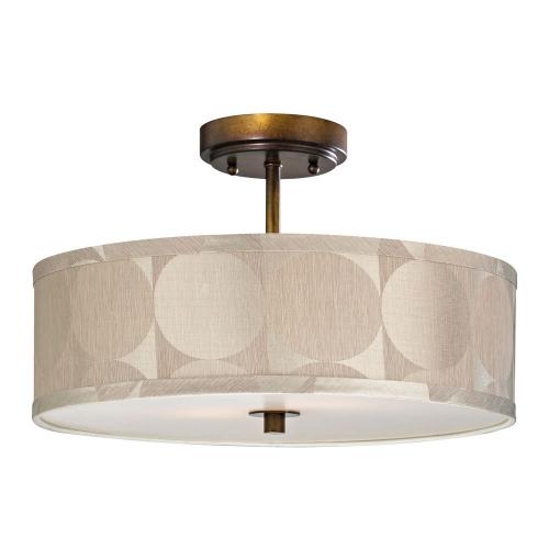 Milo Bronze Semi Flush Drum Light with Shade