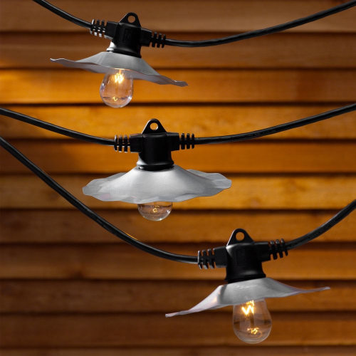 String Lights with Galvanized Shades and 7 Light Bulbs - 35FT Long