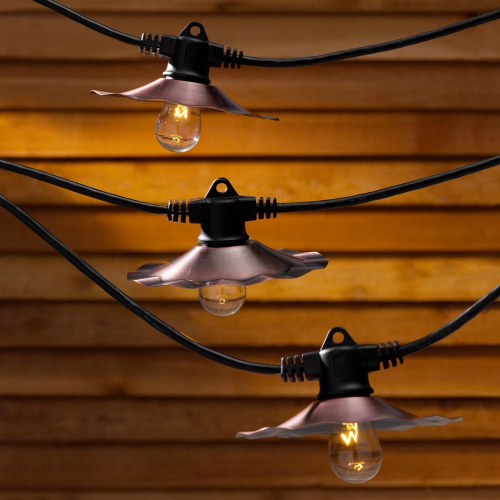 String Lights with Copper Shades and 7 Light Bulbs - 35FT Long