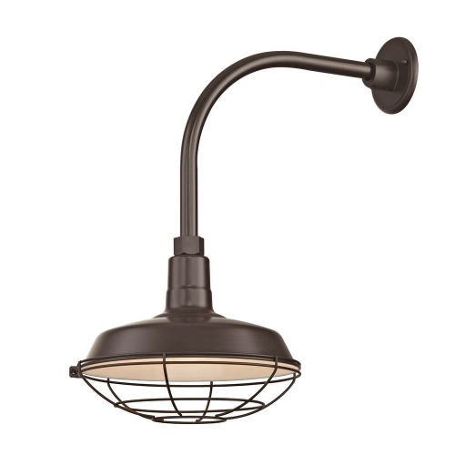 "Barn Light Outdoor Wall Light Bronze with Gooseneck Arm 12"" Cage Shade"