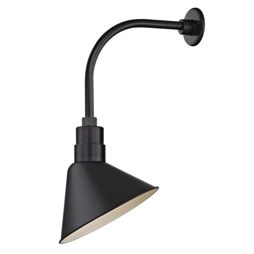 "Barn Light Outdoor Wall Light Black with Gooseneck Arm 12"" Scoop Shade"