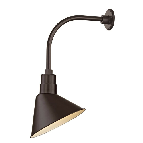 "Barn Light Outdoor Wall Light Bronze with Gooseneck Arm 12"" Scoop Shade"