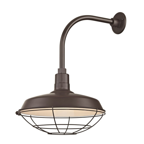"""Barn Light Outdoor Wall Light Bronze with Gooseneck Arm 16"""" Cage Shade"""