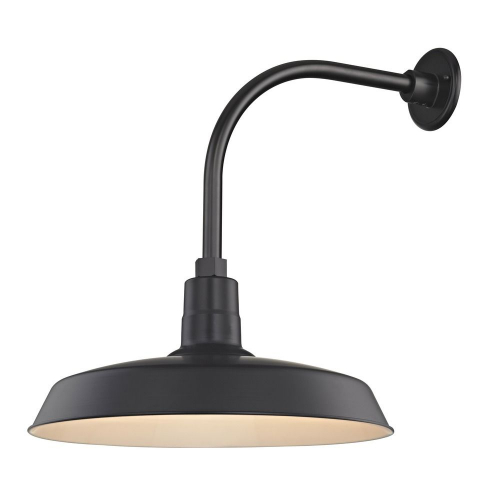 "Barn Light Outdoor Wall Light Black with Gooseneck Arm 18"" Shade"