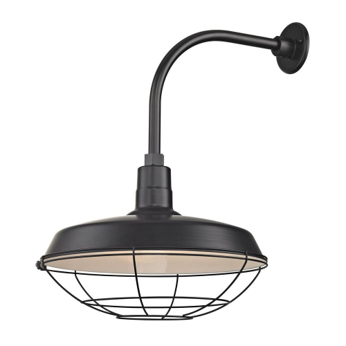 "Barn Light Outdoor Wall Light Black with Gooseneck Arm 18"" Cage Shade"