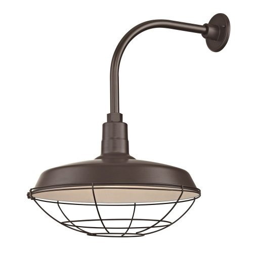 """Barn Light Outdoor Wall Light Bronze with Gooseneck Arm 18"""" Cage Shade"""