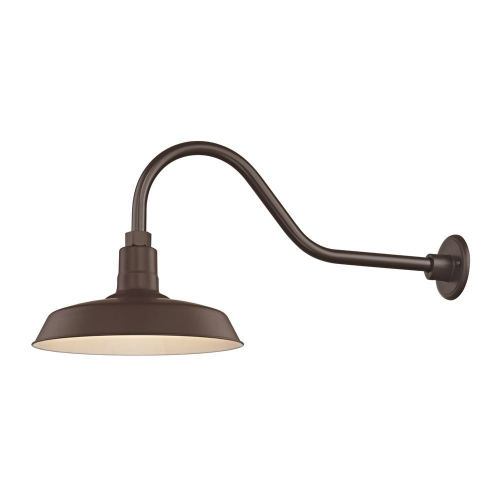 "Barn Light Outdoor Wall Light Bronze with Gooseneck Arm 14"" Shade"