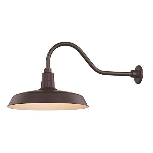 "Barn Light Outdoor Wall Light Bronze with Gooseneck Arm 18"" Shade"