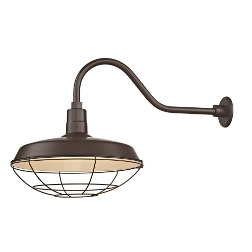 "Barn Light Outdoor Wall Light Bronze with Gooseneck Arm 18"" Cage Shade"