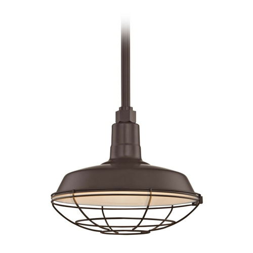 Barn Light Pendant Bronze with 12-Inch Cage Shade