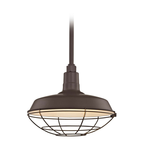 Barn Light Pendant Bronze with 14-Inch Cage Shade