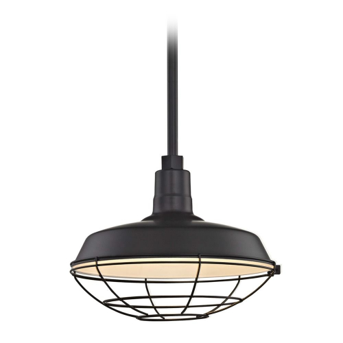 Barn Light Pendant Black with 14-Inch Cage Shade