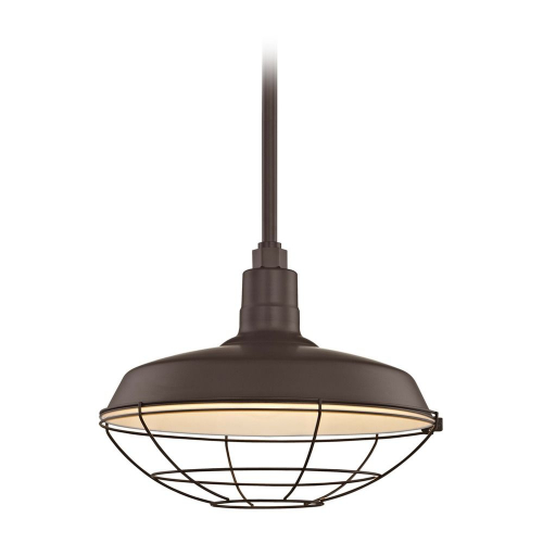 Barn Light Pendant Bronze with 16-Inch Cage Shade
