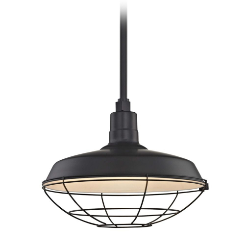 Barn Light Pendant Black with 16-Inch Cage Shade