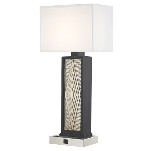 DIAMOND CUT LEDGE LAMP Single Switch with Satin Nickel Base
