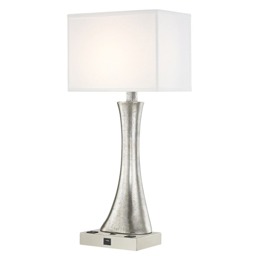 RIO LEDGE LAMP Single Switch with Satin Nickel Base and Rectangle Shade