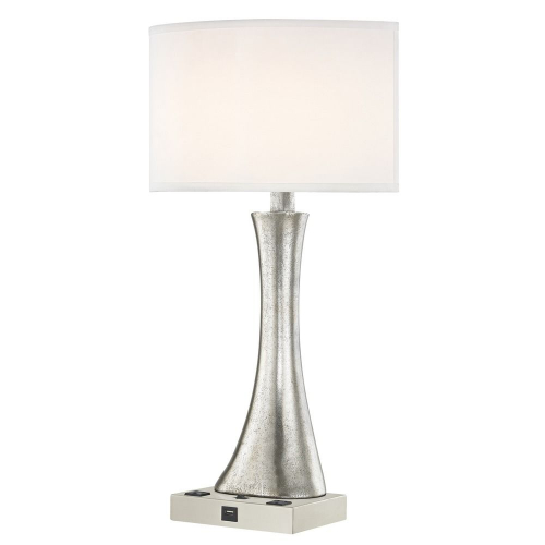 RIO LEDGE LAMP Single Switch with Satin Nickel Base and Round Shade
