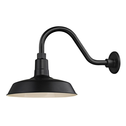 "Barn Light Outdoor Wall Light Black with Gooseneck Arm 12"" Shade"