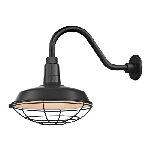 "Barn Light Outdoor Wall Light Black with Gooseneck Arm 12"" Cage Shade"