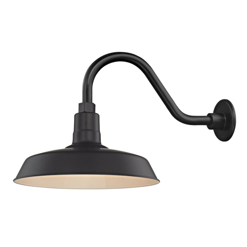 "Barn Light Outdoor Wall Light Black with Gooseneck Arm 14"" Shade"