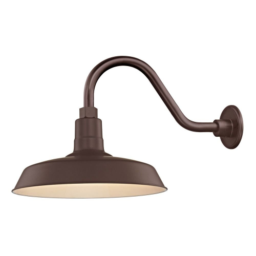 "Barn Light Outdoor Wall Light Bronze with Gooseneck Arm 14"" Shade"
