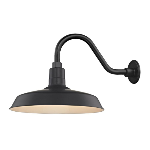 "Barn Light Outdoor Wall Light Black with Gooseneck Arm 16"" Shade"