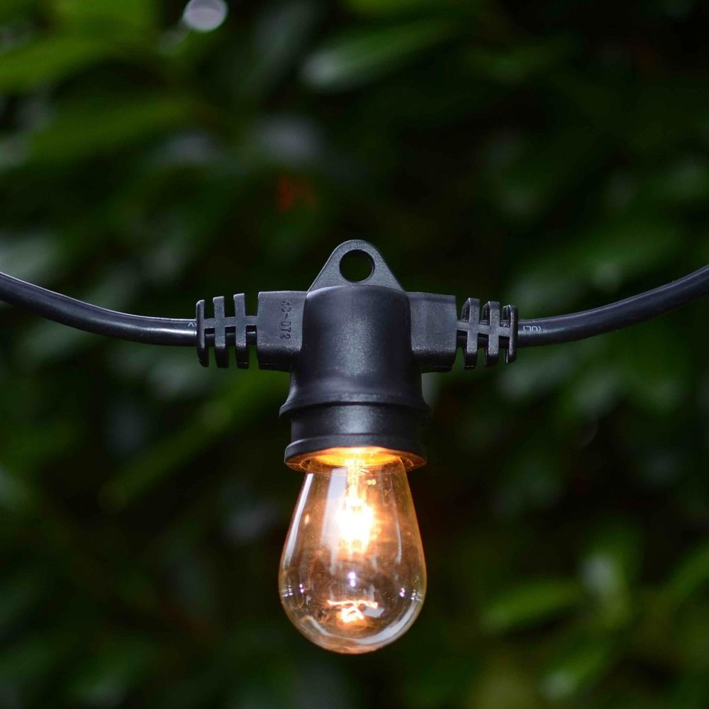 String Lights With Galvanized Shades And 7 Light Bulbs