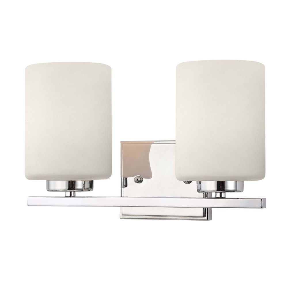 Modern Bathroom Light In Chrome Finish With Two Cylinder Glass Shades - Bathroom light fixture shades